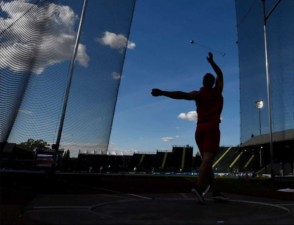 Rudy Winkler competes in the men's hammer final during day 6 of the trials.