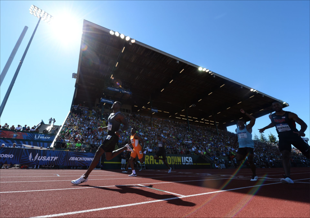 Justin Gatlin qualified for the 100 and the 200 meters after winning both finals at the trials.