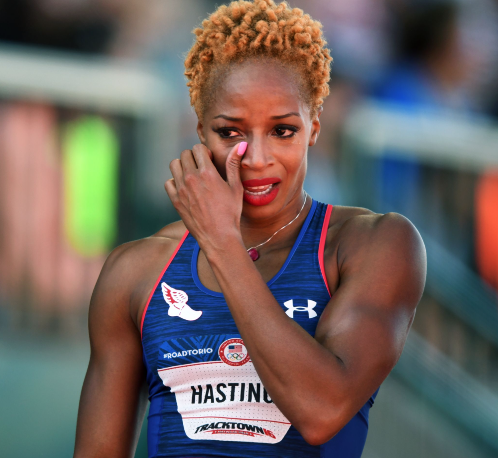 Natasha Hastings reacts after placing third in the women's 400meters and making the Olympic team.