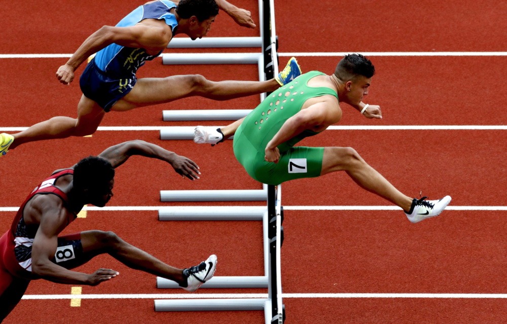 Oregon wide receiver Devon Allen qualified for the Olympics in the 110-meter hurdles. He won the NCAA championship in the event last month.
