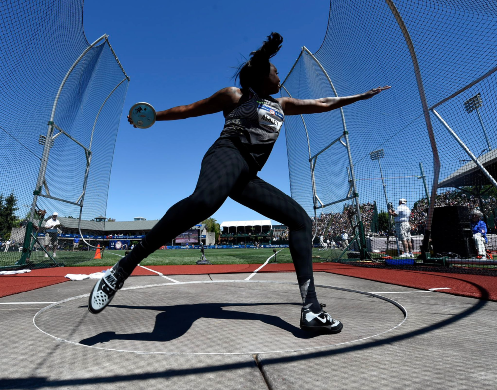 Whitney Ashley competed in the women's discus final. She would go on to win the event.