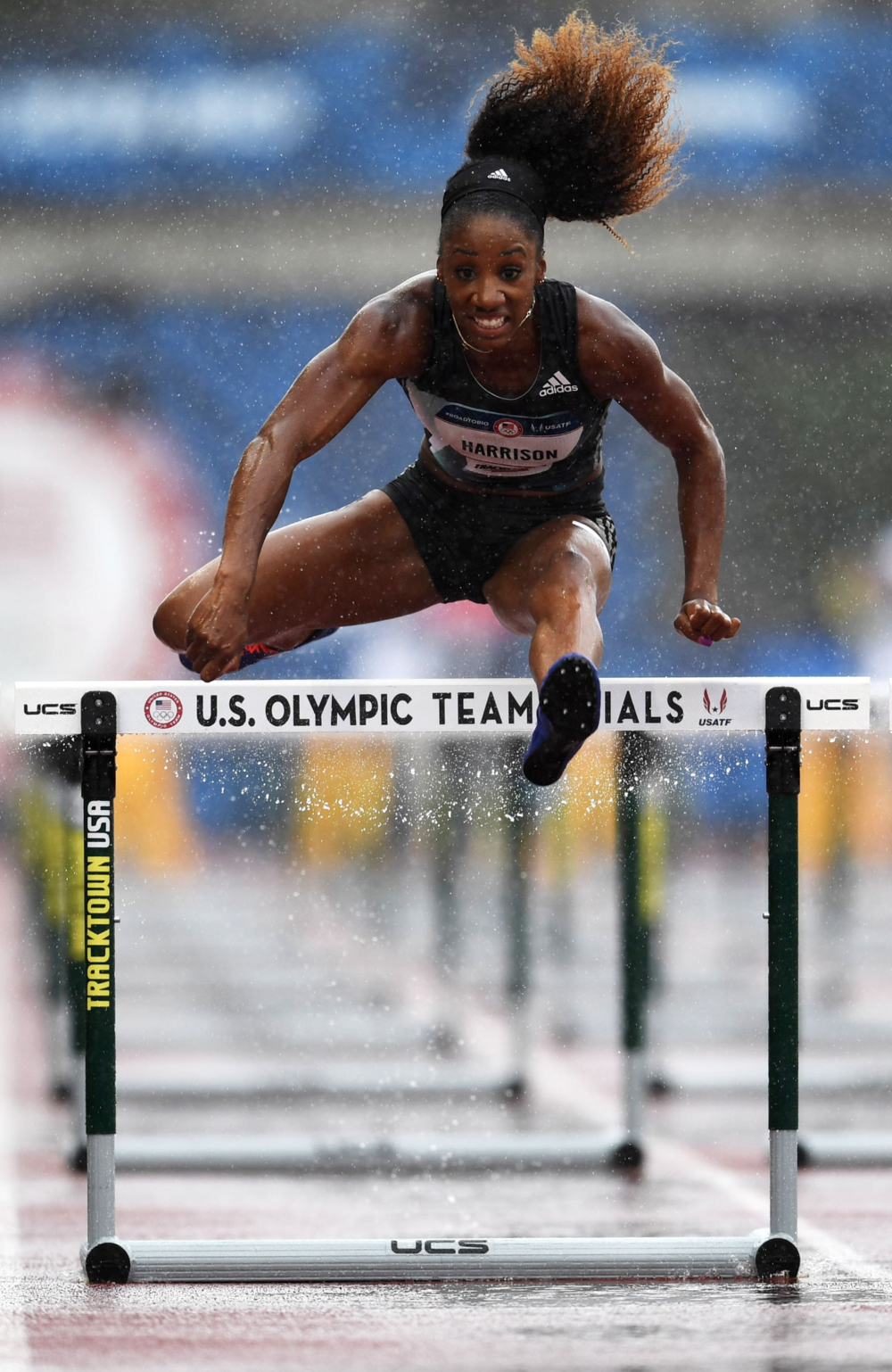 Queen Harrison finished fourth overall in the women's 100-meter hurdles.