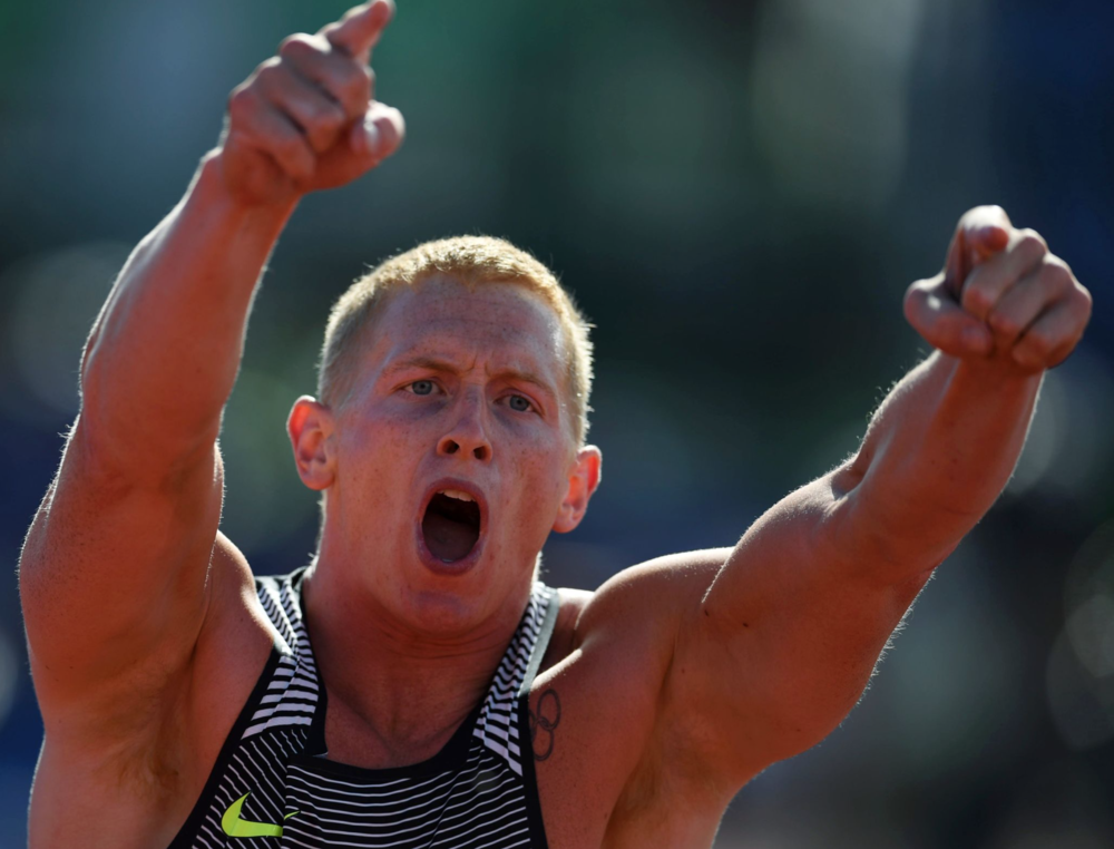 Cyrus Hostetler pointed to the crowd while competing in the men's javelin. His throw of 273 feet, 1 inch secured him first place, a trip to Rio and a meet record.