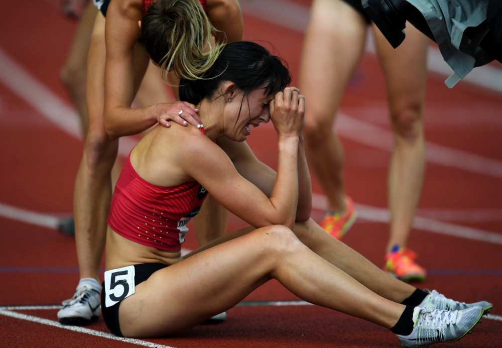 Shelby Houlihan was in tears after qualifying for the Olympics in the women's 5,000-meter.