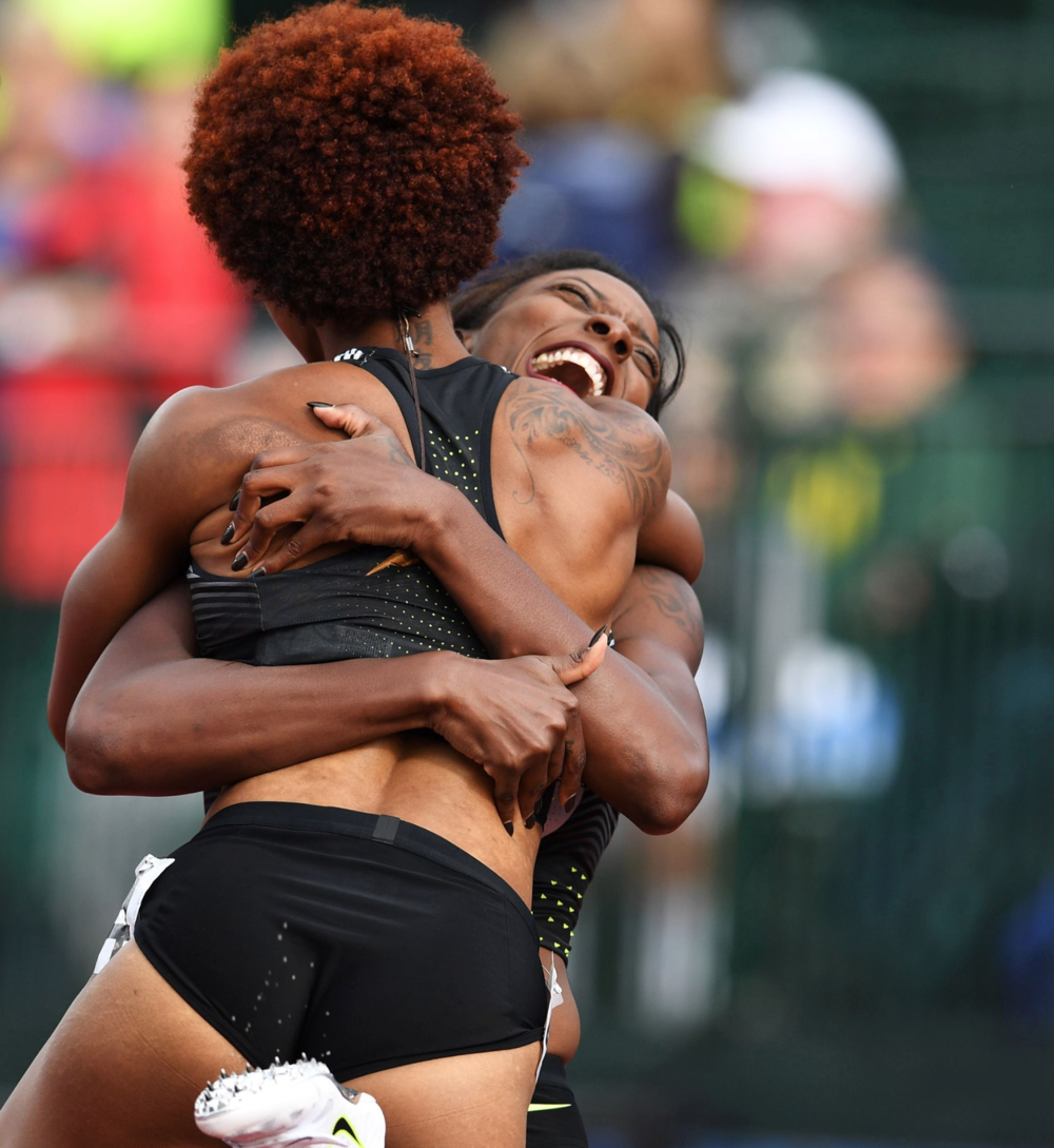 After both qualified for the Olympics in the women's 100-meter hurdles, Nia Ali and Brianna Rollins shared an embrace.