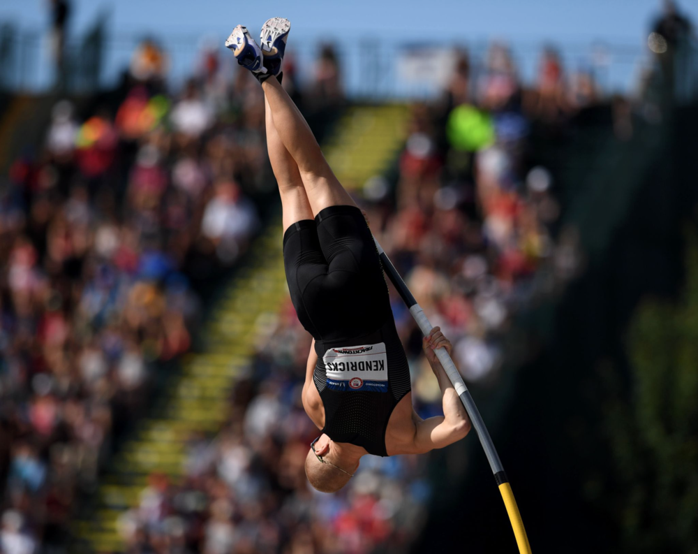 Sam Kendricks competed in the men's pole vault at trials.