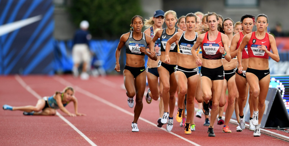 Nicole Tully fell and watched the lead pack run away from her in the 5,000-meter final.