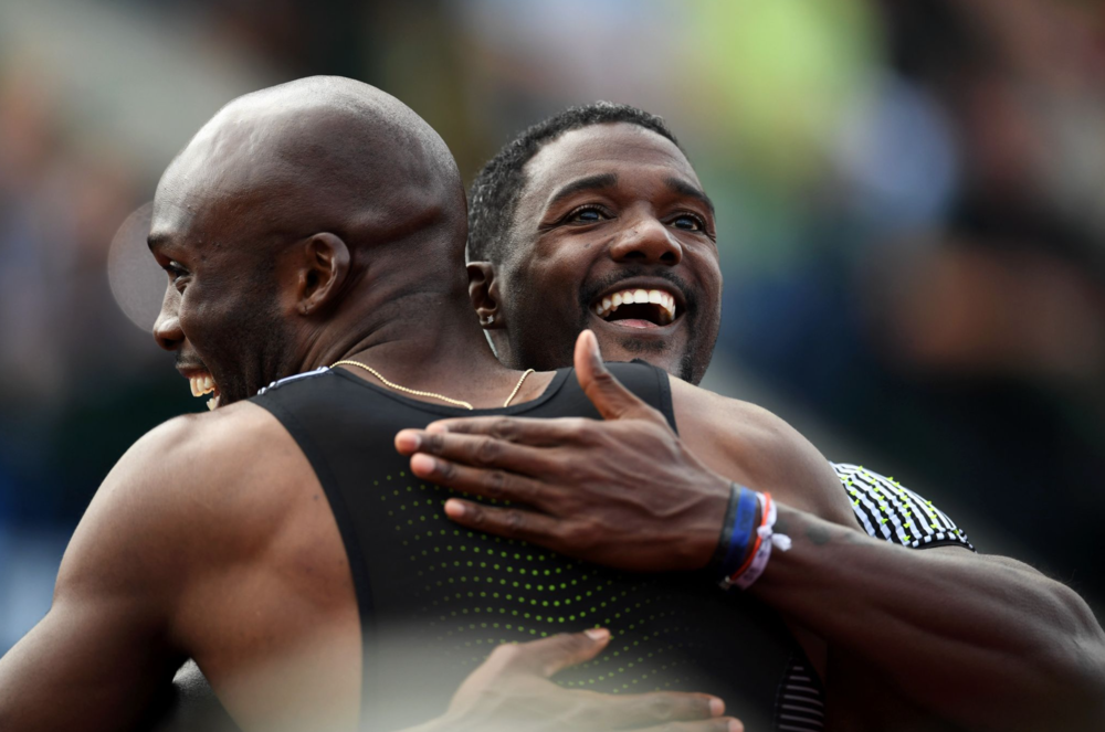 LaShawn Merritt and Justin Gatlin will be teammates in Rio, as both runners qualified in the 200 meters.