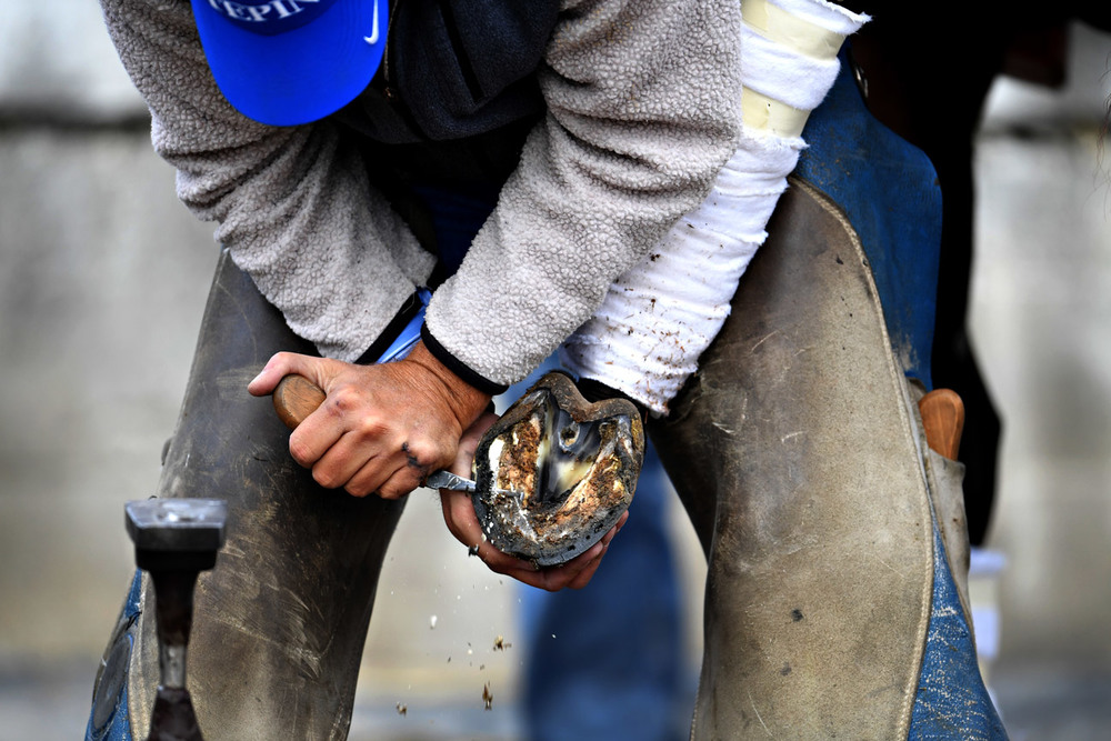 "Todd Boston works on a horse outside the barns at Churchill Downs. He has spent 30 years as a farrier -- namely providing for the care of horses' hooves -- and says ""it's the greatest week in horse racing for us. Might be a little quieter next week for us."""