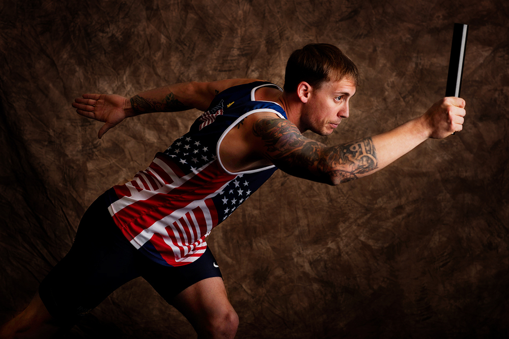 Sean Venezia, 27, is from Lafayette, Louisiana. He served in the Marine Corps and competed in track and cycling. Venezia ran the first leg for the gold medal-winning 4x100-meter relay team.