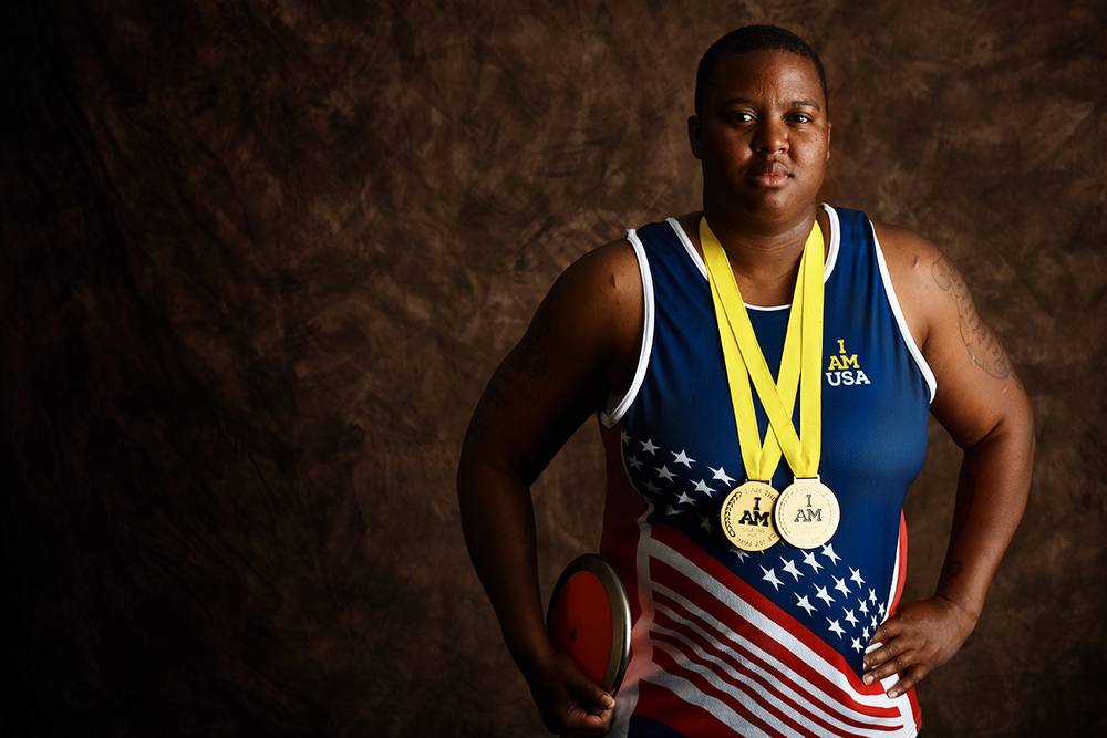 Monica Southall, 36, currently resides in Richmond, Virginia. She is an Army veteran, having served as an automated logistical specialist. Southall won gold in both shot put and discus.
