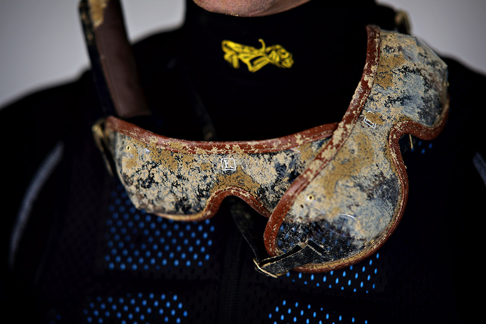 Detail of Hernandez's goggles at Churchill Downs on Tuesday. Jockeys typically wear multiple pairs of goggles and pull them off throughout the race as they get dirty.