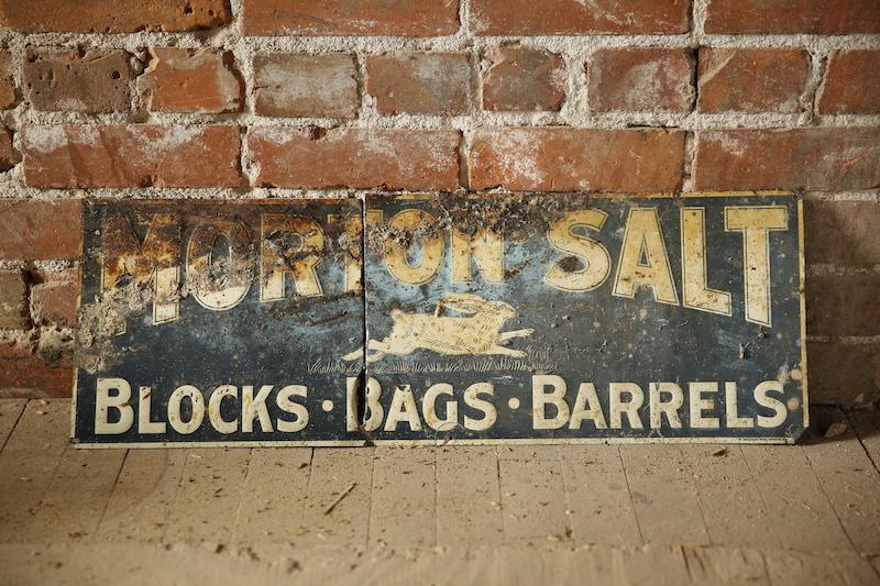 Vintage salt sign found during renovation