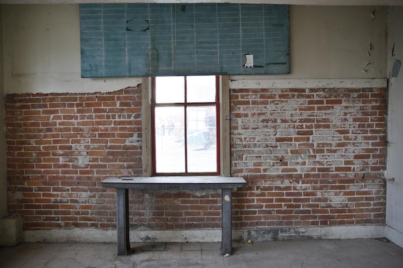 Window & chalkboard over grain scale