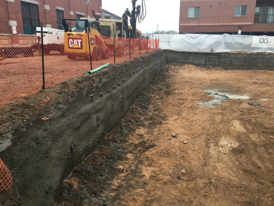 The first level of excavation and soil nail shoring.