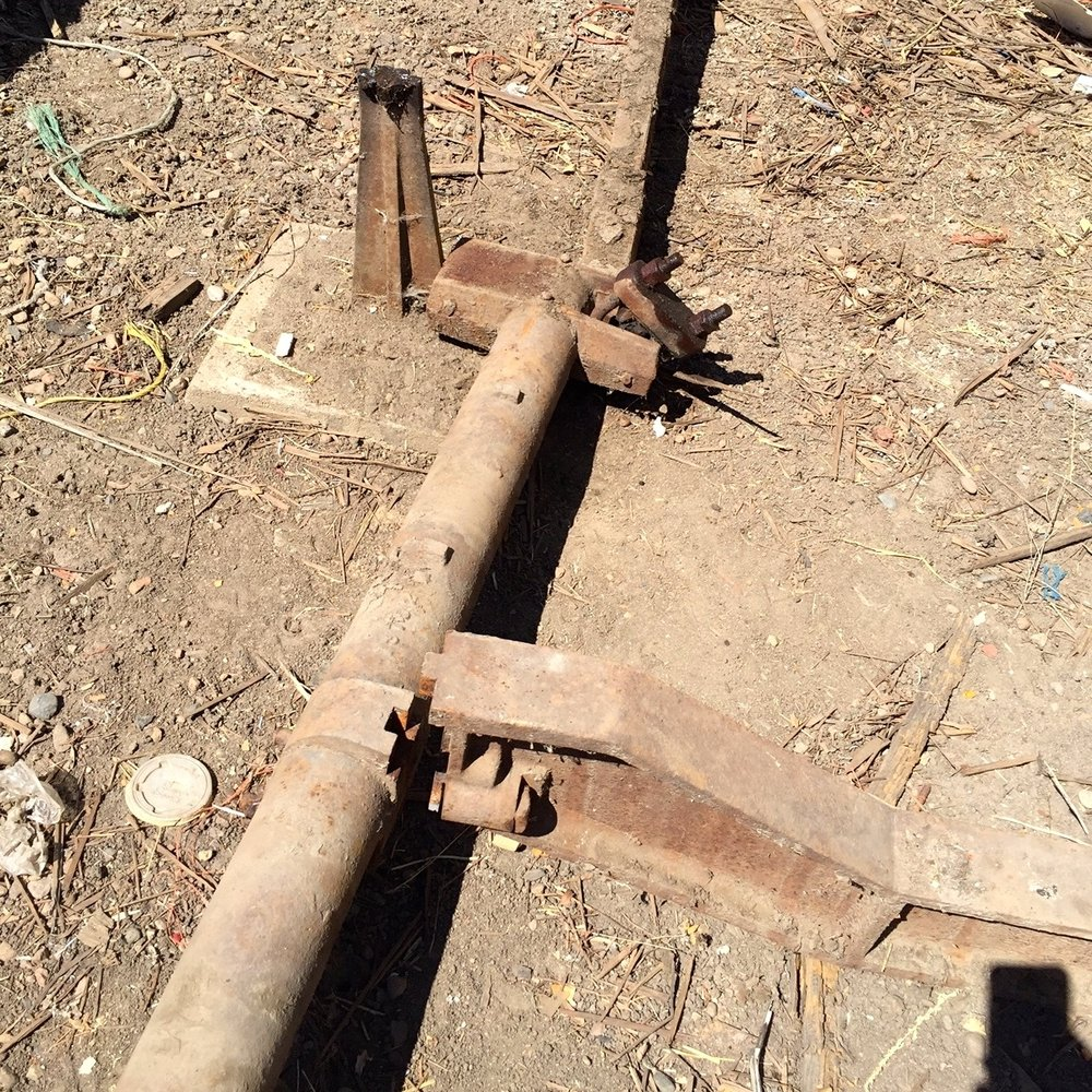 We saved these cross arms and hope to find a way to use them in the renovation.