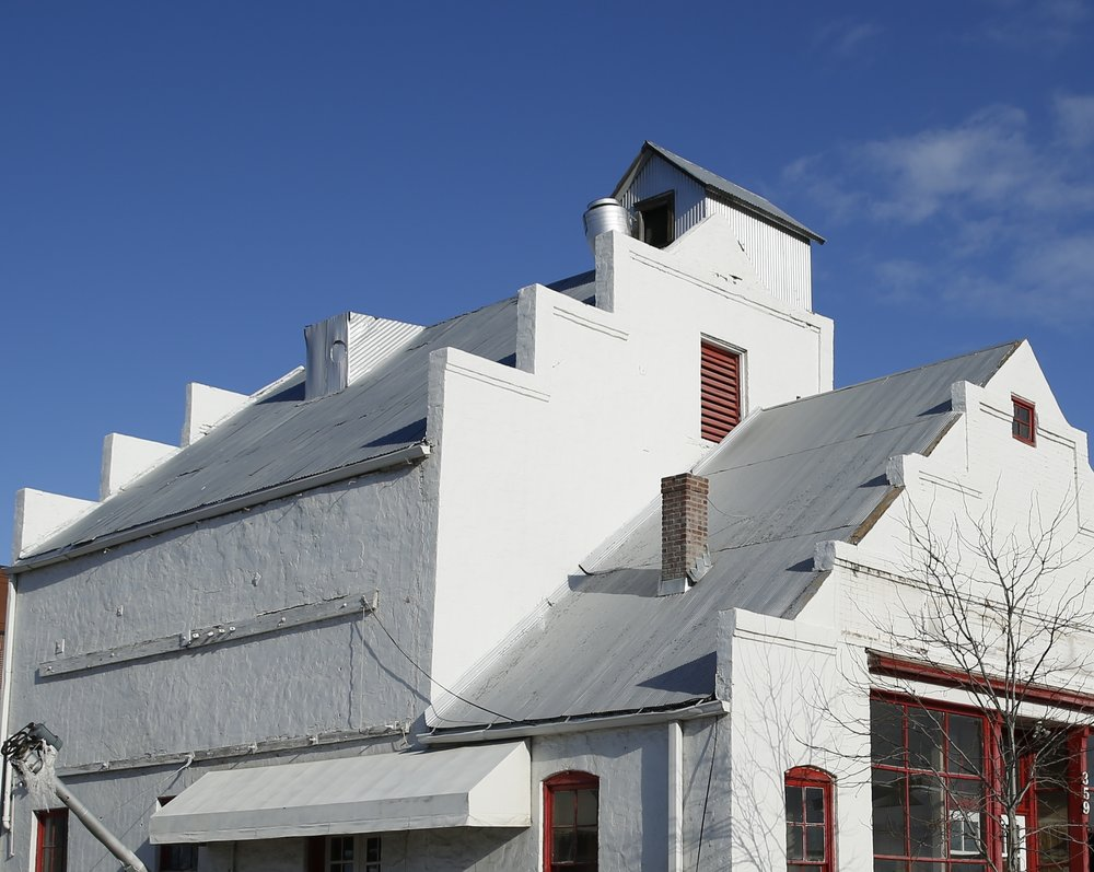 The Feed Mill's iconic stepped parapets on the top of the building where grain was stored.
