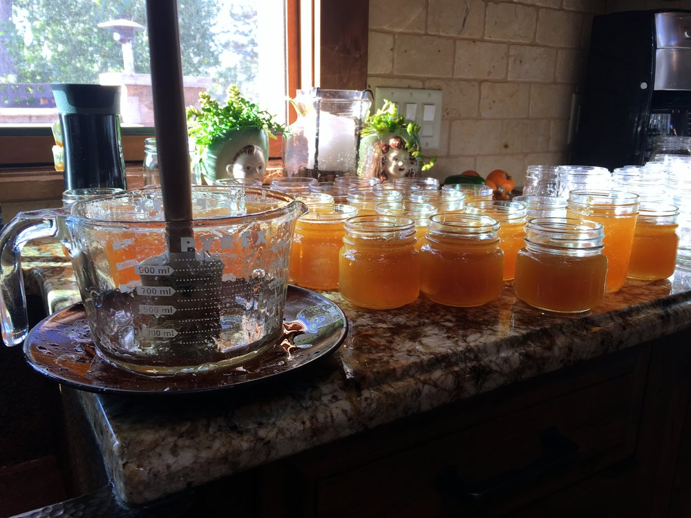 Canning day last fall. Jars and jars of honey for family, friends and baking.