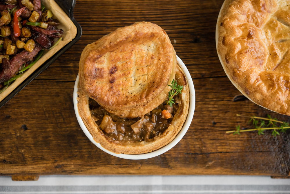 An variety of savory pies will always be on the menu at the Café. Pictured today are Pastrami Hash Pie (served with an sunnyside up egg), Beef Stew Pot Pie and Classic Chicken Pot Pie.