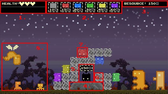 👾 A mock-up of a nighttime scene for Hive Mind, including some GUI elements and enemies. They mostly come at night... mostly. #gamedesign #gamedev #indiegame #indiegamedev #pixels