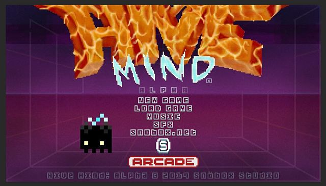 Mock-up of the opening game screen for Hive Mind: alpha! 👾 #pixelart #indiegamedev #gamedesign #art #photoshop #autodesksketchbook