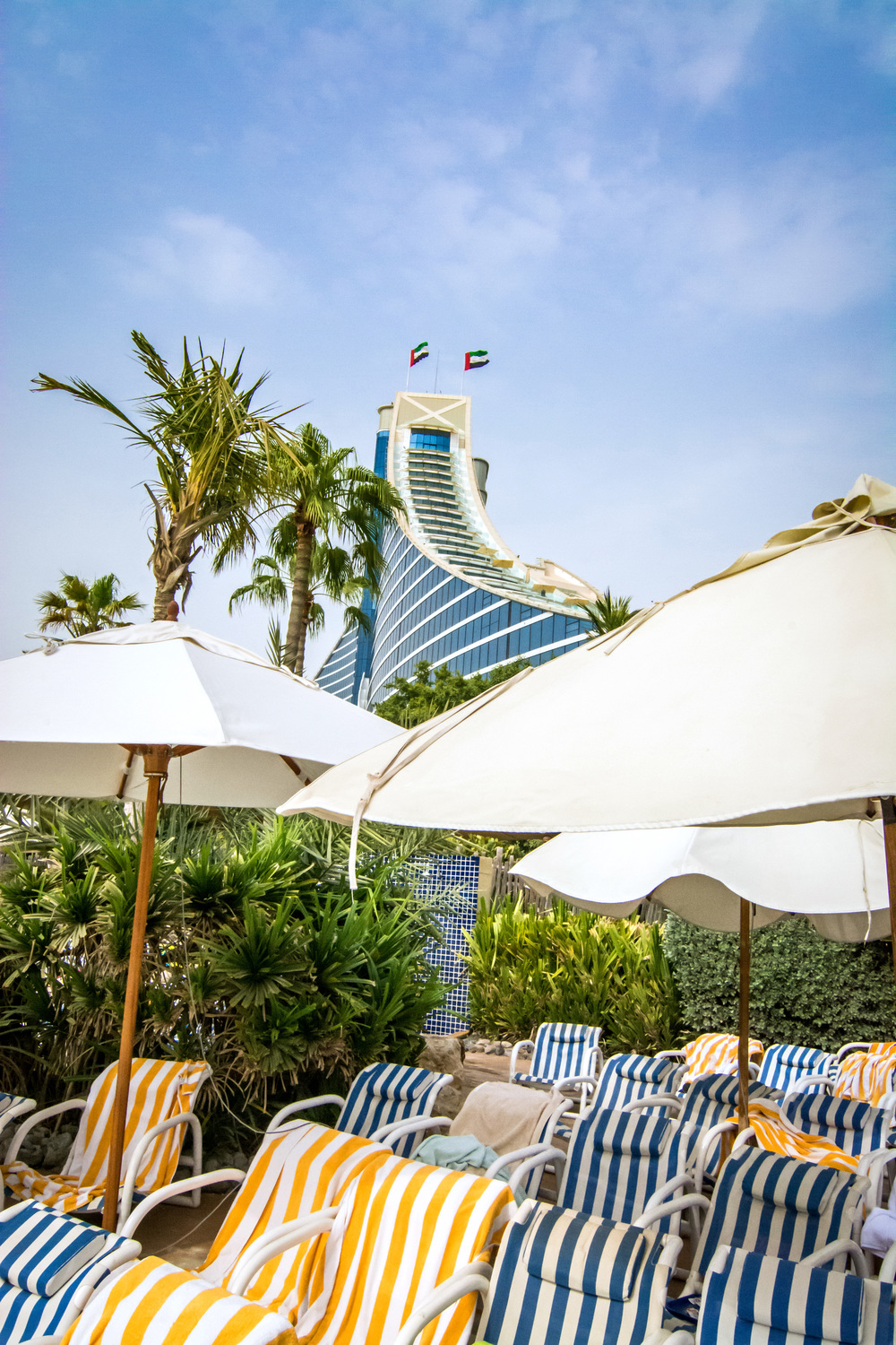 Jumeirah Beach Hotel seen from the wave pool area.