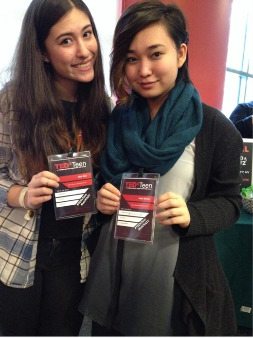 Alex and Jado show off their TEDxTEEN badges.