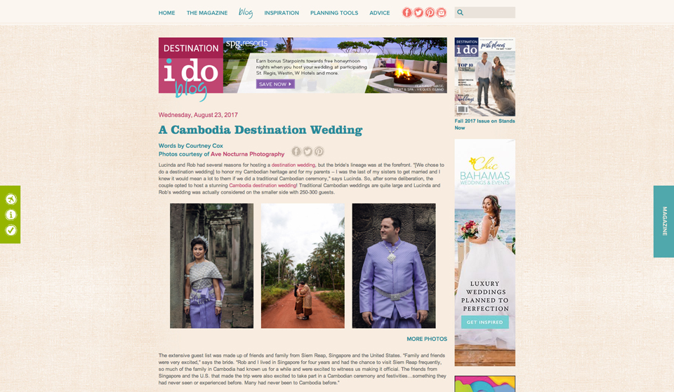 The amazing Lucinda + Rob's epic Cambodian wedding featured on Destination I do! Check it:  here.