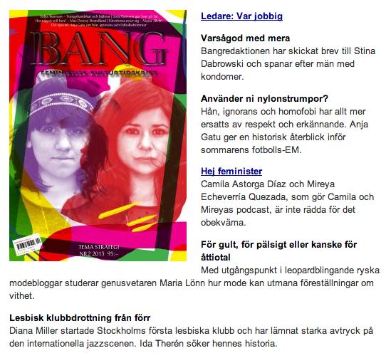 BANG nr 2/2013    Reportage om lesbiska jazzsångerskan Diana Miller