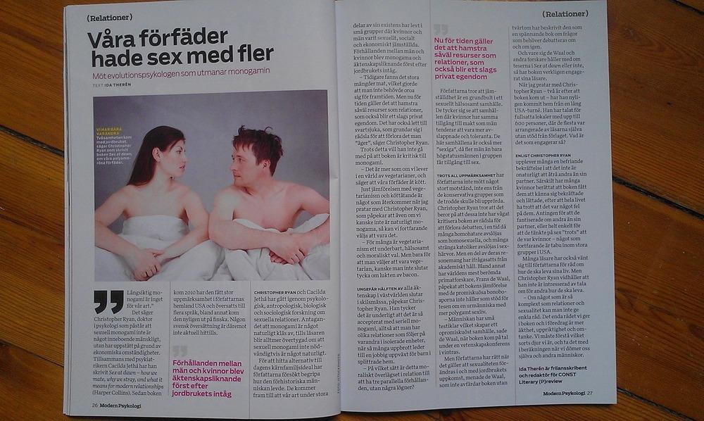 Intervju med Christopher Ryan om hans bok Sex at Dawn för Modern Psykologi, juni 2012