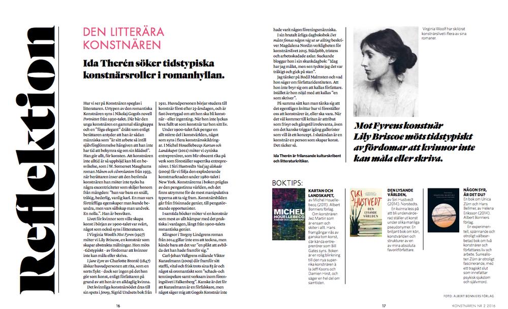 Den litterära konstnären – Ida Therén söker tidstypiska konstnärsroller i romanhyllan. – KONSTNÄREN NR 2 2016