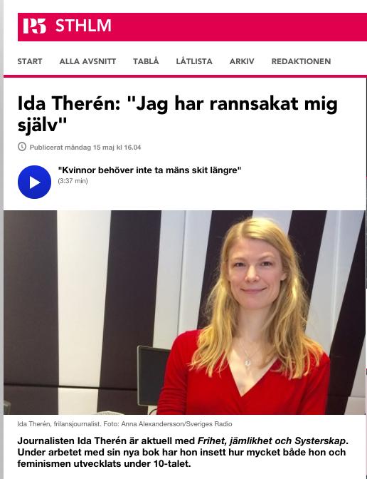"""Jag besökte P5 och berättade om min bok """"Frihet, jämlikhet & systerskap""""."""