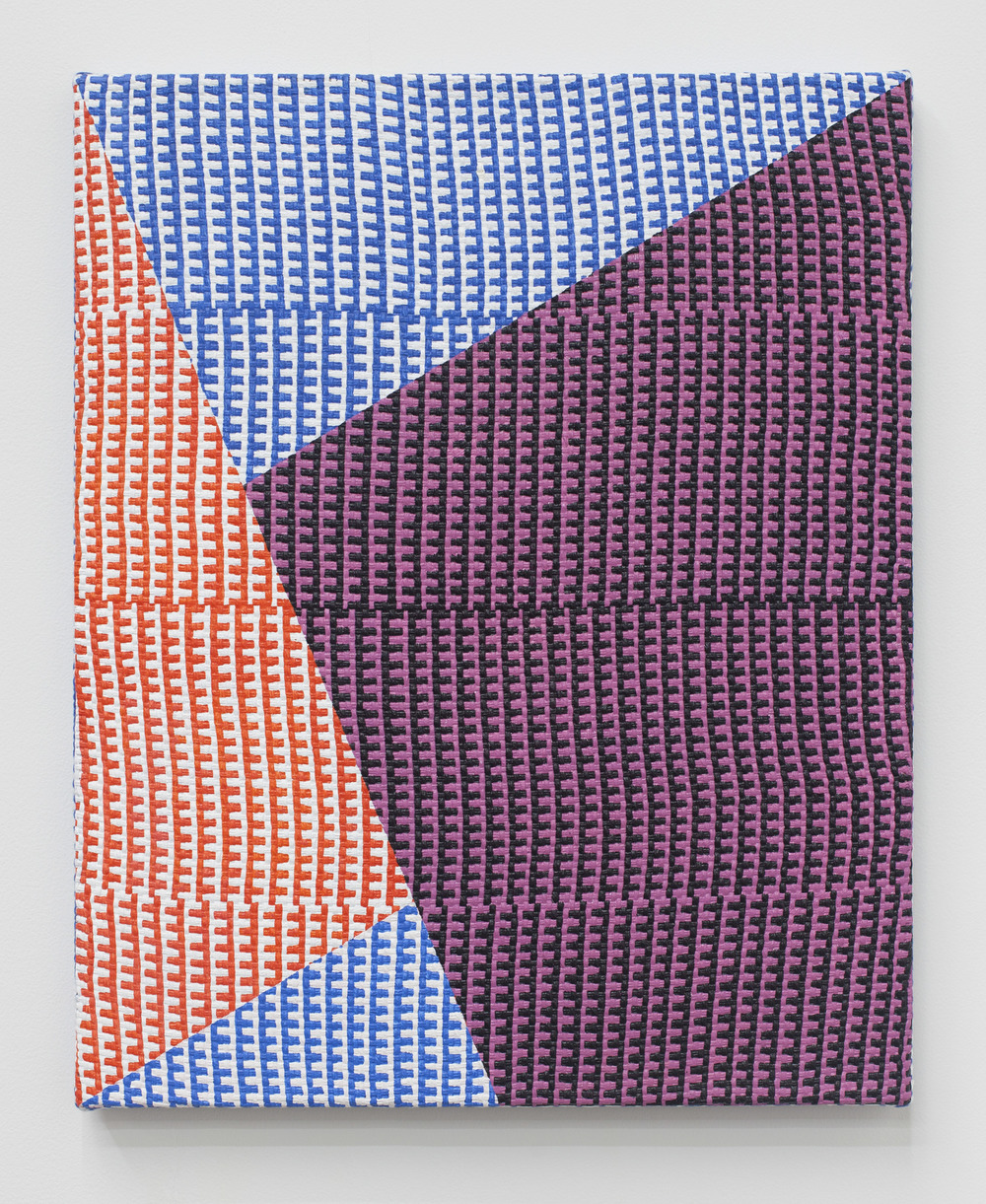 "SAMANTHA BITTMAN, Untitled, 2015, acrylic on hand-woven textile, 20"" x 16"""