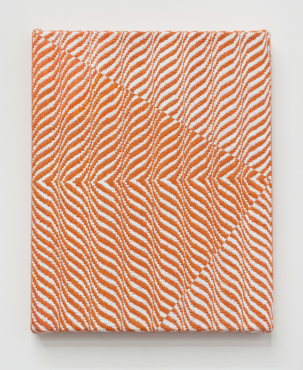 "Samantha Bittman Untitled, 2015, acrylic on hand-woven textile, 15"" x 12"""