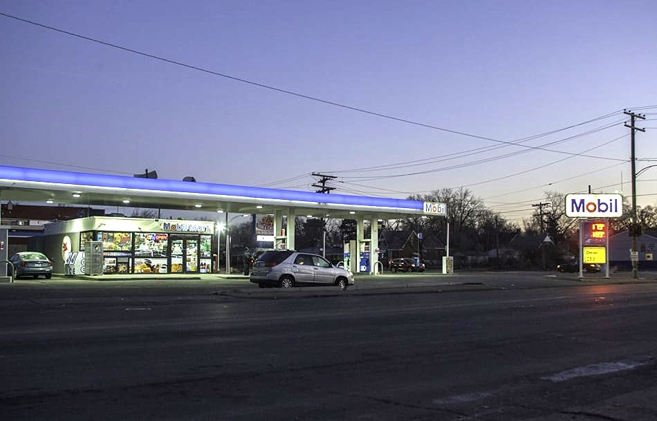 Project Green Light Detroit Partner   gas station at the intersection of Fenkell and Greenfield.