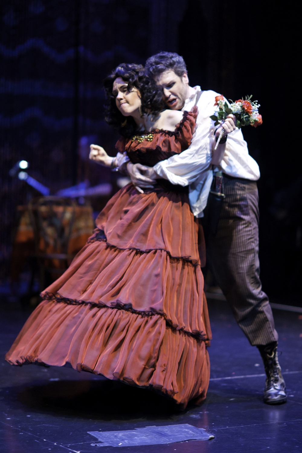 Carmen the Gypsy  photo by Patti Brahim.  Kara Cornell as Carmen and James Flora as Don Jose.  Photo courtesy of SummerFest.