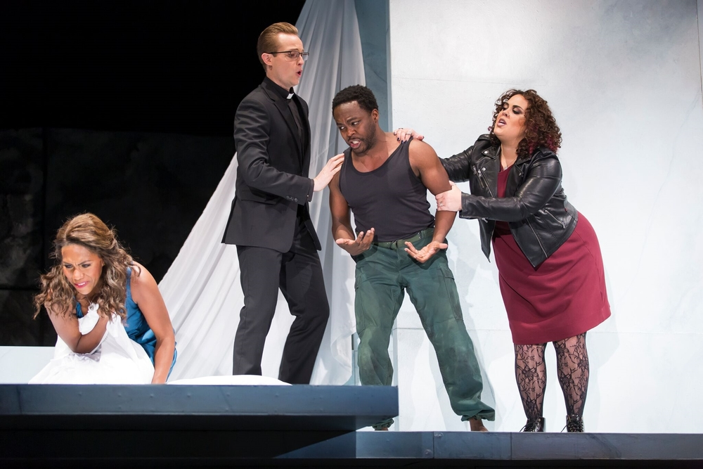 J'Nai Bridges as Lucretia, Brenton Ryan as Male Chorus, Will Liverman as Tarquinius, and Kerriann Otano as Female Chorus.  Photo by Scott Suchman and courtesy of Wolf Trap Opera.