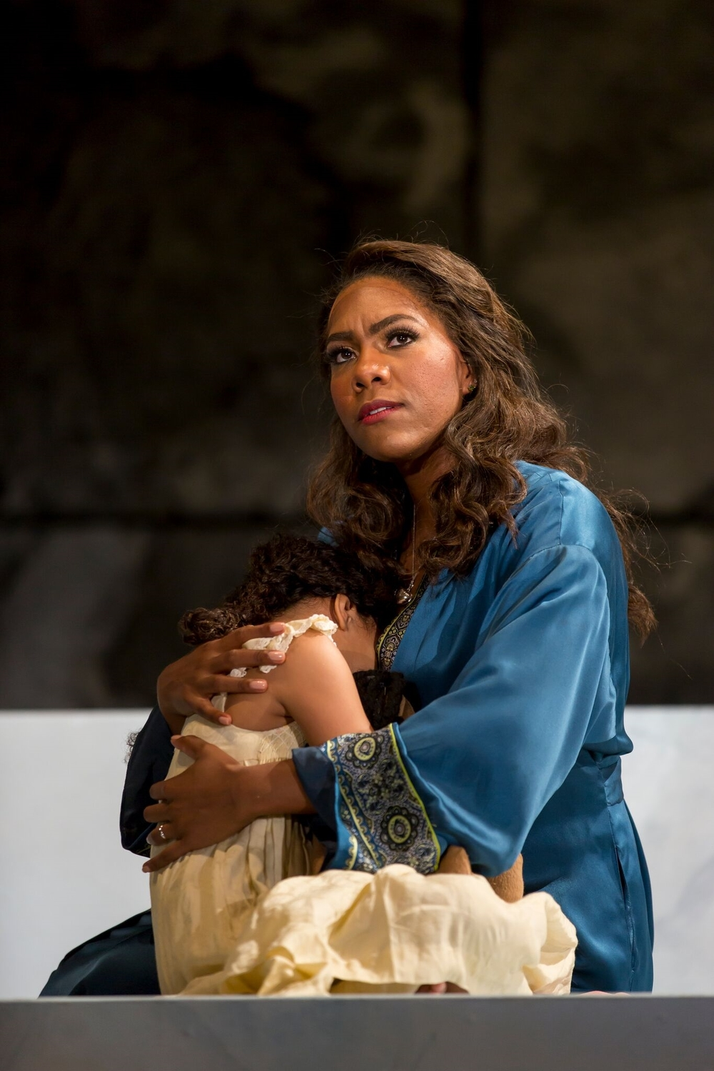 J'Nai Bridges as Lucretia (holding River Rogers as Child).  Photo by Scott Suchman and courtesy of Wolf Trap Opera.