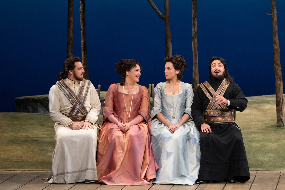 Matthew Polenzani as Ferrando, Susanna Phillips as Fiordiligi, Isabel Leonard as Dorabella, and Rodion Pogossov as Guglielmo in Cosi Fan Tutte.  Photo by Marty Sohl; courtesy of Metropolitan Opera.