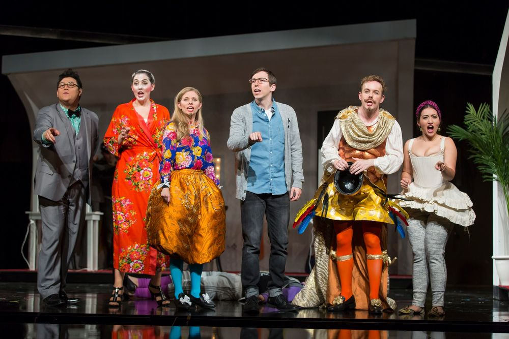 Kihun Yoon, Clarissa Lyons, Amy Owens, Jonas Hacker, Alastair Kent, and Mane Galoyan in L'Opera Seria.  Photo by Scott Suchman; courtesy of Wolf Trap Opera, 2016.