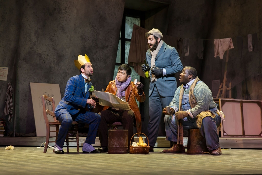 Shea Owens as Schaunard; Yongshao Yu as Rodolfo; Timothy Bruno as Colline; Reginald Smith, Jr. as Marcello; photo by Scott Suchman; courtesy of Wolf Trap Opera 2016.
