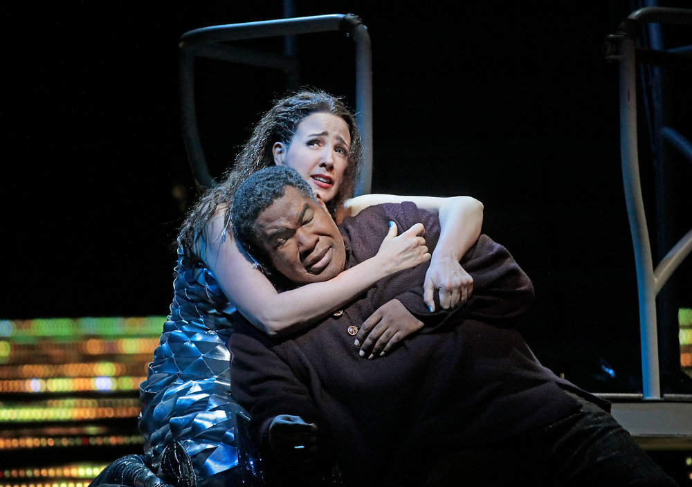 Susanna Phillips as Clemence and Eric Owens as Jaufre.  Photo by Ken Howard and courtesy of Metropolitan Opera.