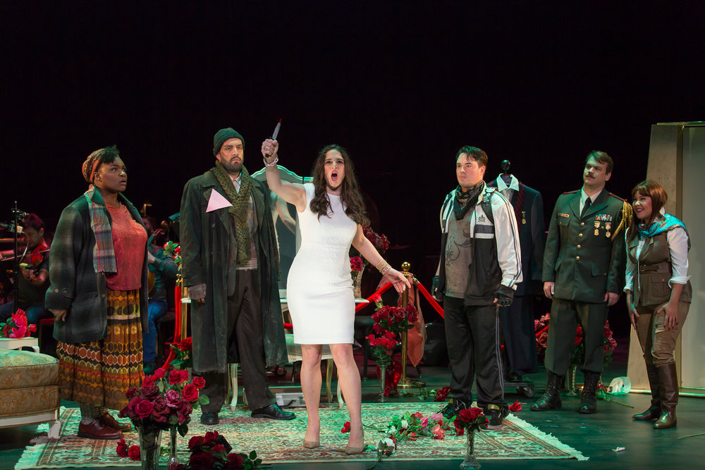 Scene from a new opera, The Dictator's Wife: Leah Hawkins, Timothy J. Bruno, Allegra De Vita, Rexford Tester, Huntor Enoch, and Ariana Wehr; photo by Scott Suchman for Washington National Opera and courtesy of Washington National Opera.
