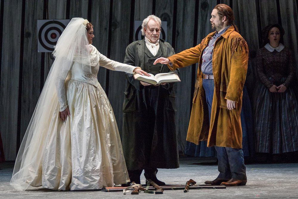 The Hermit (Jake Gardner), our holy man, blesses the couple, but there is still unease between them. What will the future hold? Photo by Ben Schill photography; courtesy of Virginia Opera.