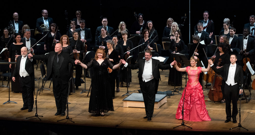 Closing applause for Eric Halfvorsan, Alan Held, Marjorie Owens, Antony Walker, Celena Shafer, Jonas Hacker, the orchestra, and the chorus (not seen). Photo by Don Lassell and courtesy of Washington Concert Opera.