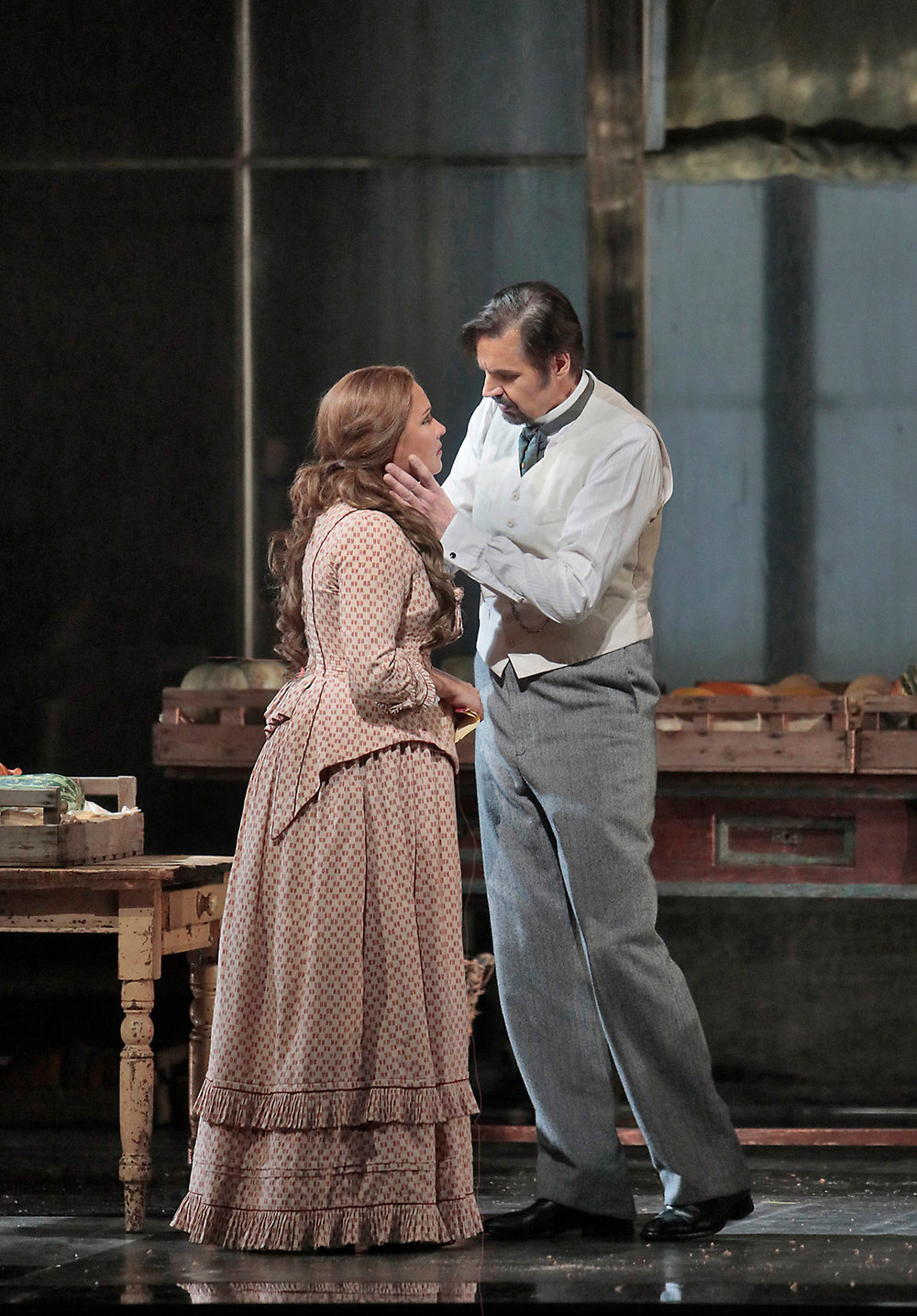 Anna Netrebko as Tatiana and Peter Mattei as Onegin discussing her letter. Photo by Ken Howard; courtesy of the Metropolitan Opera.