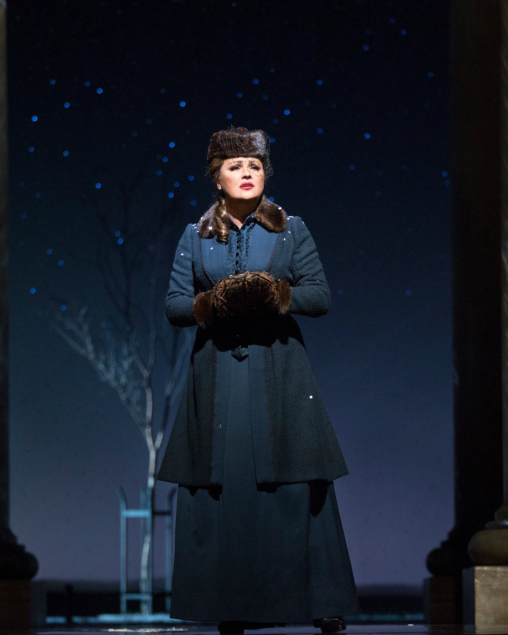 Anna Netrebko as a more mature Tatiana. Photo by Marty Sohl; courtesy of the Metropolitan Opera