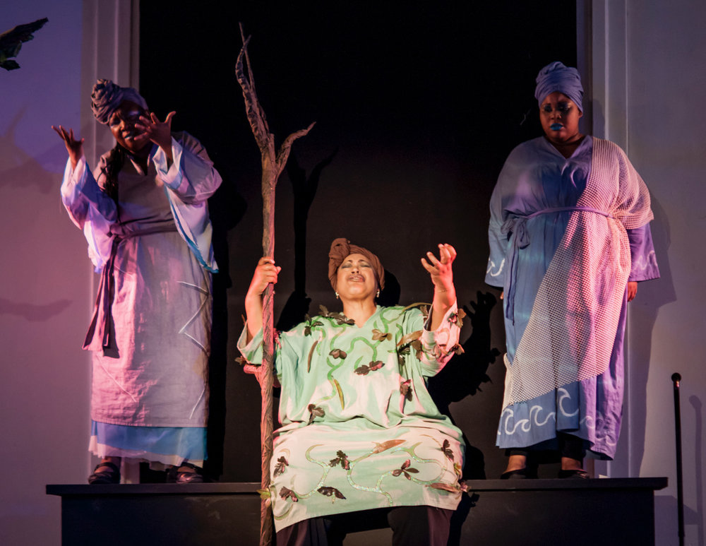 A Gathering of Suns  - The Spirits of the Sky, the Earth, and the Waters mourn the loss of Victor. (l-r) Charlene Canty (The Sky That Can't Stop Seeing), Demareus Cooper (The Speaking Earth), and Michele Renee Williams (The Waters). Photo by Patti Brahim; courtesy of the Pittsburgh Festival Opera.
