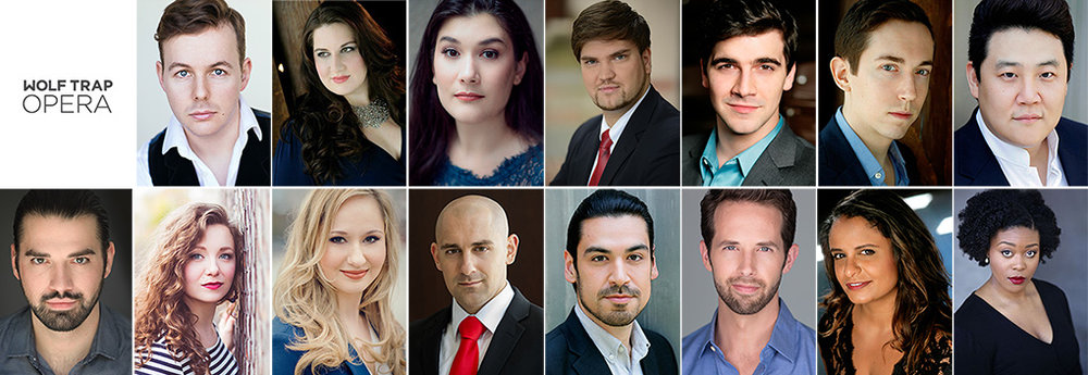Wolf Trap Opera's 2017 Filene Young Artists. Top row, l to r: Alistair Kent; Alexandra Loutsion; Annie Rosen; Anthony Robin Schneider; Ben Edquist; Jonas Hacker; and Kihun Yoon. Bottom row, l to r: Mackenzie Gotcher; Madison Leonard; Megan Mikailovna Samarin; Nicholas Nestorak; Richard Ollarsaba; Shea Owens; Summer Hassan; and Zoie Reams.