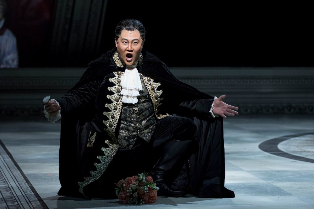 Kihun Yoon as Scarpia.  Photo by Scott Suchman; courtesy of Wolf Trap Opera.